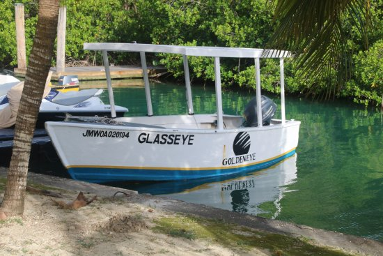 Goldeneye Resort: The glass bottom boat that is available free every morning at 9 a.m.