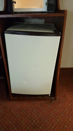 Econo Lodge Downtown: Spots on the walls, outdated furniture and TV, dirty and broken microwave and fridge, filthy car