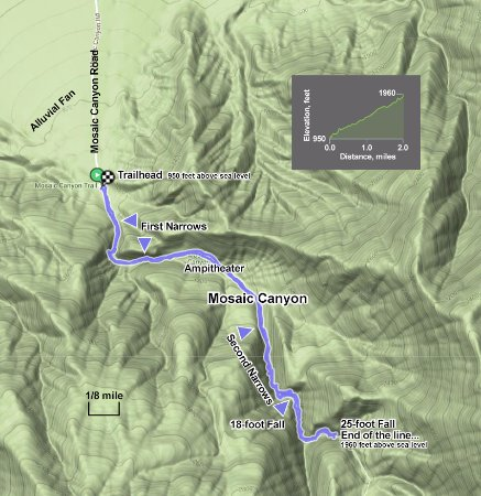 Death Valley Elevation Map.Map Of Our Hike Through Mosaic Canyon Picture Of Mosaic Canyon
