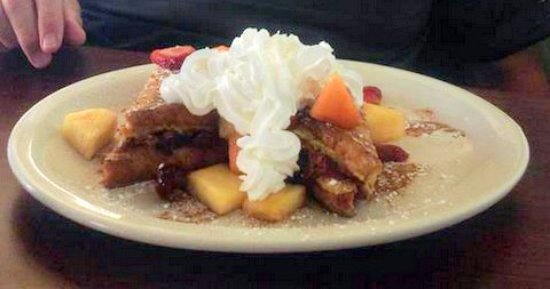 Key West Cafe : French Toast( Stuffed with apples, cinnamon and cream cheese) & topped with fruit