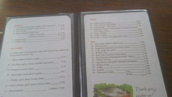 Portobelo, Panamá: English menu.