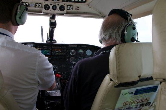 Headcorn, UK: Inside the Piper Chieftain spotter plane.