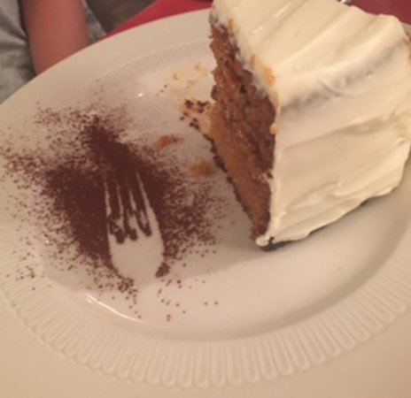The Gumboot Restaurant : Carrot Cake (with cute fork mark they put in with cinnamon)