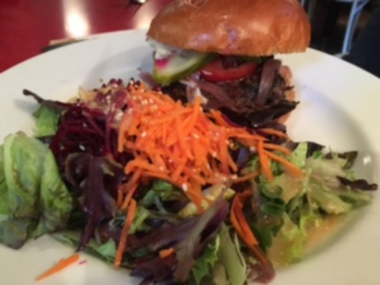 The Gumboot Restaurant : Brisket Burger with Side Salad (miso ginger dressing)