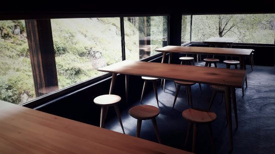 Sauda, นอร์เวย์: The café. Furniture and building designed by Peter Zumthor.