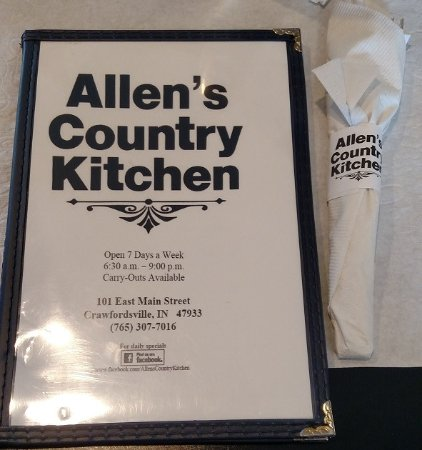 Allen's Country Kitchen: May 2016 - Menu