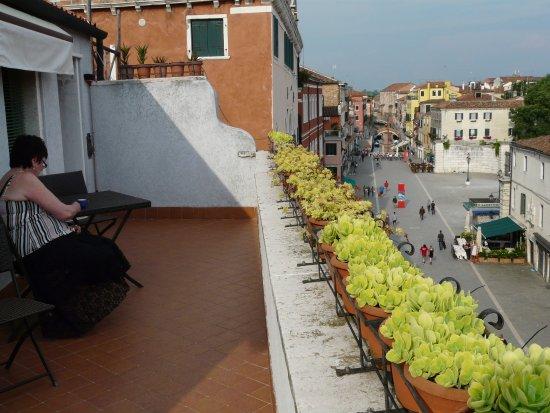 Ca' Alexander: view up the Via Garibaldi from room terrace