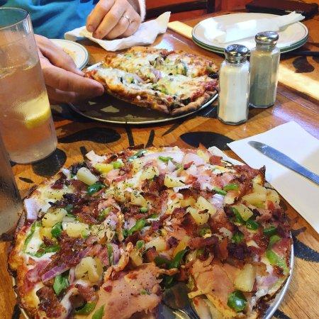 Bazbeaux Pizza : hawaiian with bacon on gluten free crust
