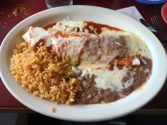 La Grande, OR: Burrito with pulled beef. Comes with rice & refried beans.