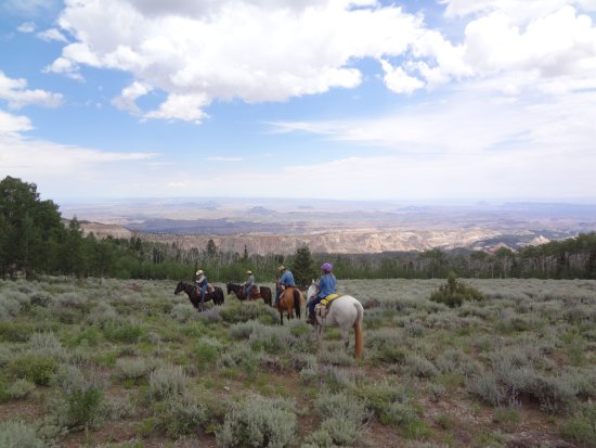 Hondoo Rivers and Trails: View from horseback overlooking the valley
