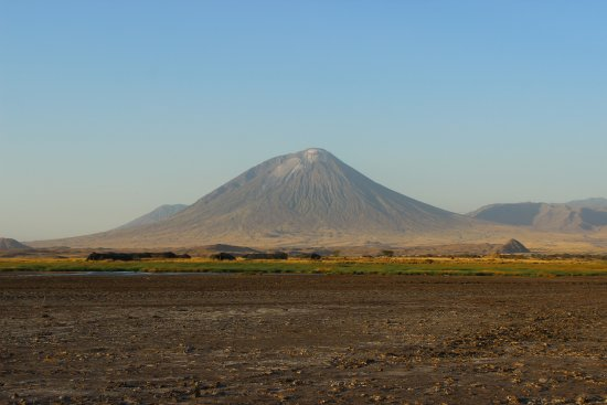 Lake Natron, Tanzania: View from the salt flats by the lake towards camp