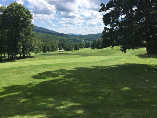 """Hot Springs, VA: View from one stretch of a hiking trail that runs along the """"Old Course""""."""