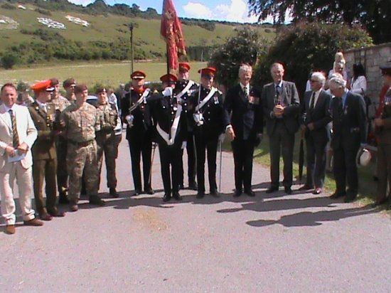 Fovant, UK: RWY Old Comrades and current soldiers with Guidon 2016
