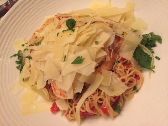 The Brass Cafe and Saloon: capellini with shrimp