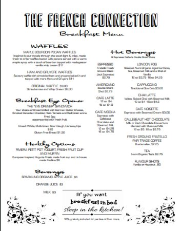 Breakfast Menu  Picture Of The French Connection Cheese And Fine
