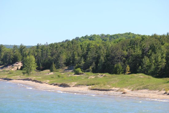 The beach and Lake Michigan from Petoskey State Park Campground