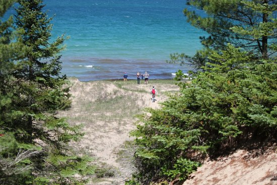 The view of the water from the top of a dune. Petoskey State Park