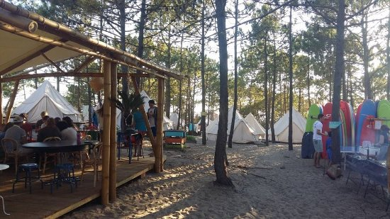 Dreamsea Surf Camp: bar/dining area to left, tipi's straight ahead, BBQ and surf board storage to right