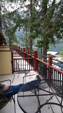 North Cascades Lodge at Stehekin: Patio with table & chairs for 4 plus more room