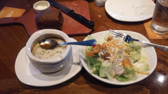 Outback Steakhouse: French onion soup and salad.