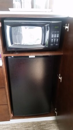Radisson Hotel Cincinnati Riverfront: Mini Fridge And Microwave Hidden In  Cabinet