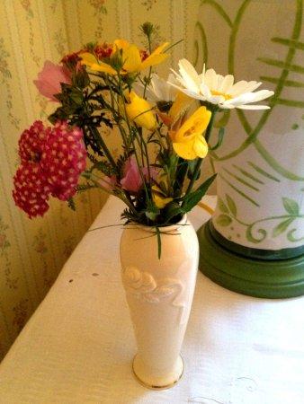 Whately, MA: Freshly cut flowers from the garden on nightstand in the Yellow Room...such a lovely touch