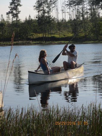 Hidden Valley Inn: leisurely canoeing on their private lake at sunset