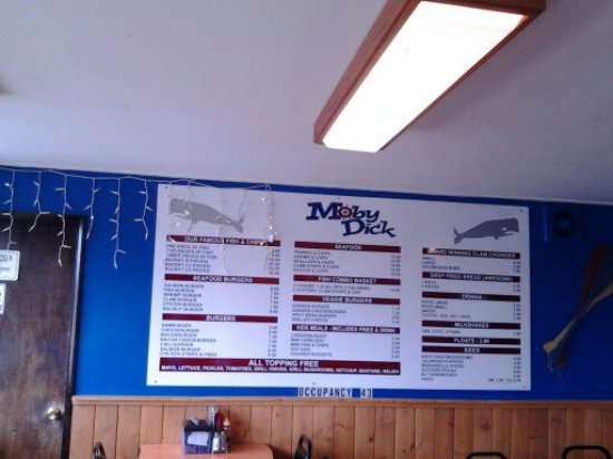 Moby Dick's: The second menu on the back wall.