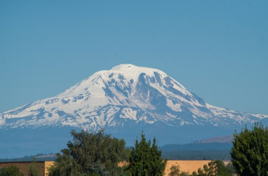 Goldendale, WA: Mt. Adams in the morning from the side of the building