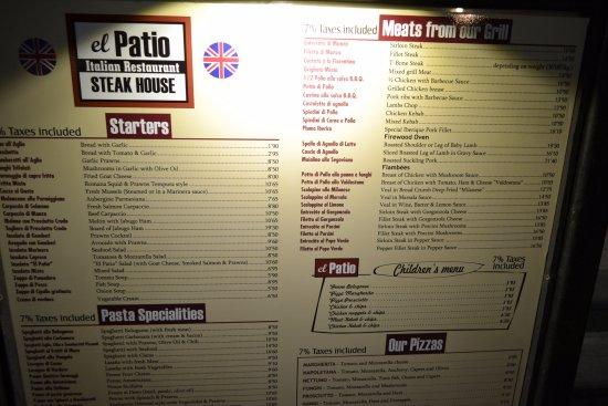 Restaurante El Patio: Menu
