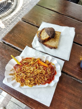 Best Worscht in Town: Traditional sausage with sauces and bread on the side