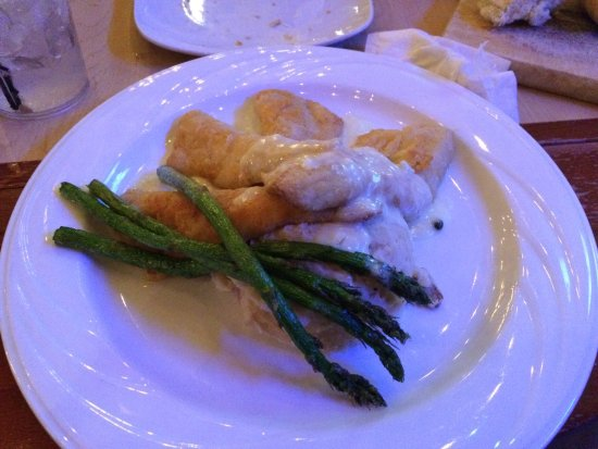 Whitmore Lake, MI: Perch dinner with mashed potatoes and grilled asparagus
