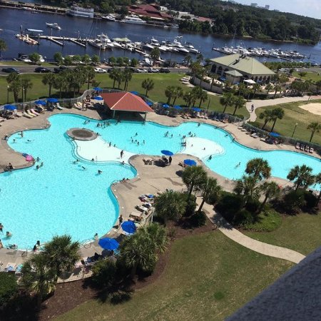 Barefoot Resort: View of pool and waterway from the 10th floor of our condo!!