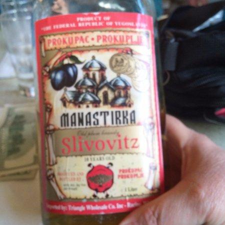 Three Brothers Restaurant : 10 year old, 90 proof slivovitz (slivovice) served