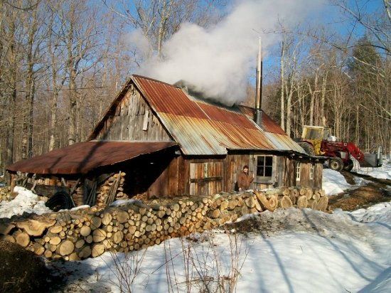 Newport, VT: Maple sugar shack in winter