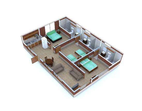 Los Pinos - Cabanas y Jardines: Distribución interna aproximada Cabaña Familiar Deluxe/ Family Deluxe Cabin Aproximate Layout
