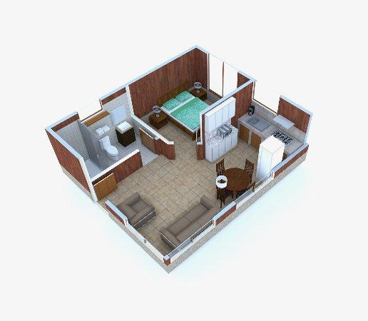 Los Pinos - Cabanas y Jardines: Distribución interna aproximada Cabaña Junior / Junior Cabin Aproximate Layout