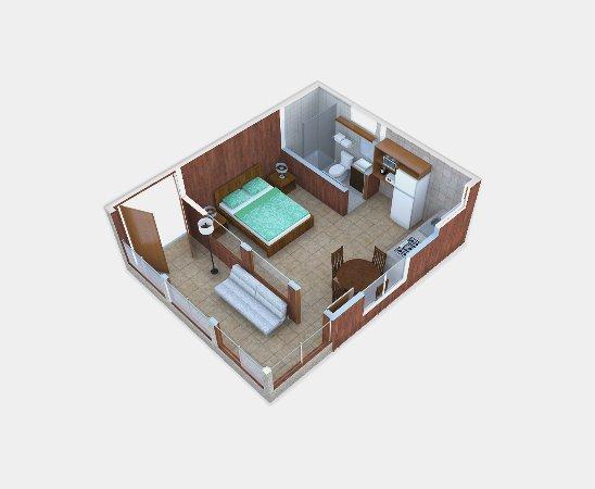 Los Pinos - Cabanas y Jardines: Distribución interna aproximada Cabaña Estandar / Standard Cabin Aproximate Layout