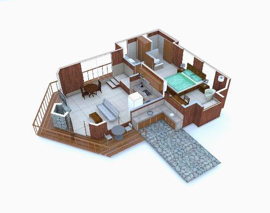 Los Pinos - Cabanas y Jardines: Distribución interna aproximada Cabaña Superior / Superior Cabin Aproximate Layout