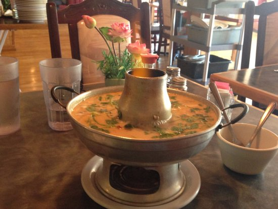 Jasmine Thai : Tom Kha Gai Soup Served With Flaming Bowl. Cool!