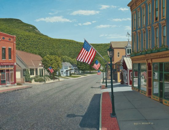 My oil painting of Main Street Bristol VT