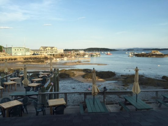 the view from our table of Stonington harbor