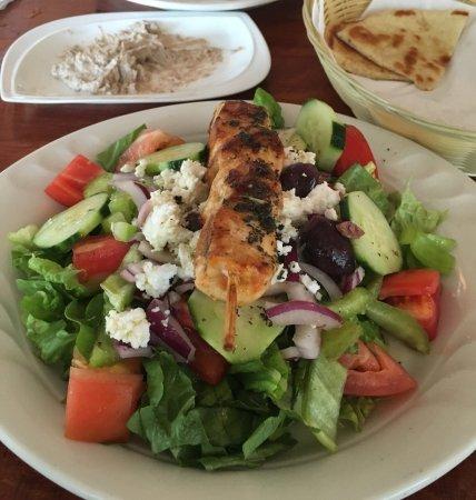Galloway, NJ: Greek salad with grilled chicken kabob. Yummy!