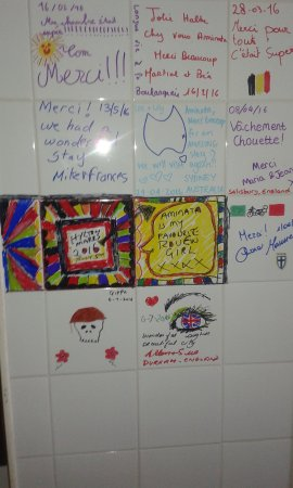 La Boulangerie: Our 'guestbook' signatures.