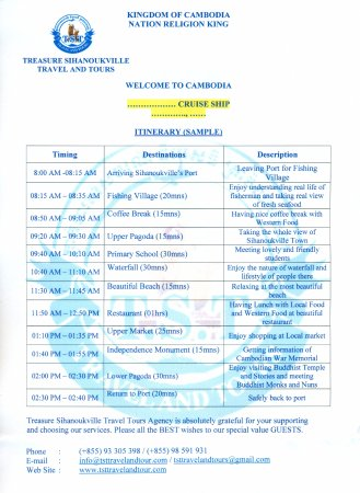 our sample itinerary for the tours picture of treasure