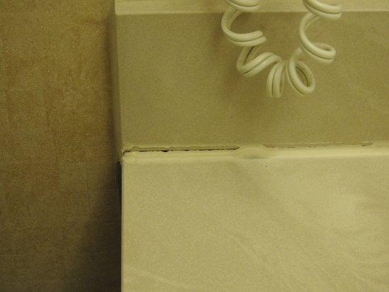 Comfort Inn & Suites: Poor grout on the backsplash will leak.