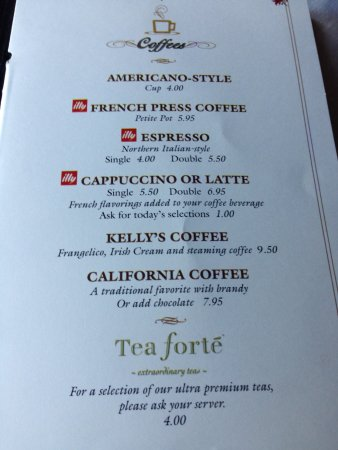 Capitola, CA: After dinner Coffee and Tea menu