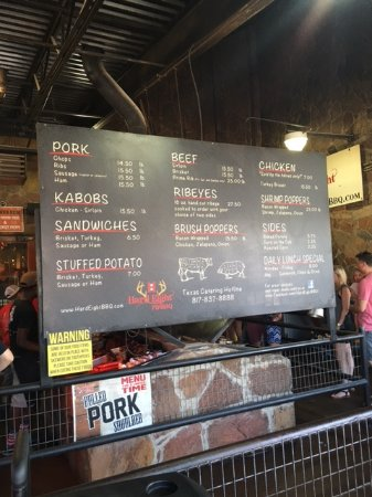 Roanoke, TX: Menu board at Hard Eight BBQ