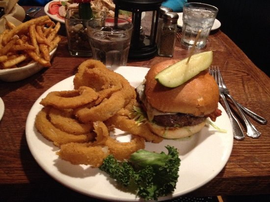 Prineville, OR: 8 ounce Wagyu beef burger with onion rings