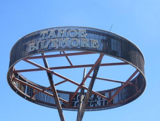 Large Rroad Sign, Tahoe Bilt,ore Lodge, Crystal Bay, Nevada